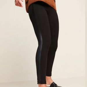 Old Navy High Waisted Faux Leather Panel Leggings